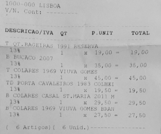 Receipt from the Garrafeira Nacional in Lisbon.