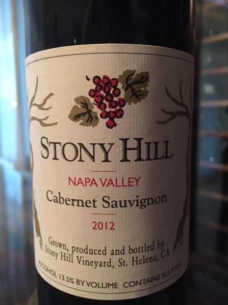 stony hill cabernet 2012