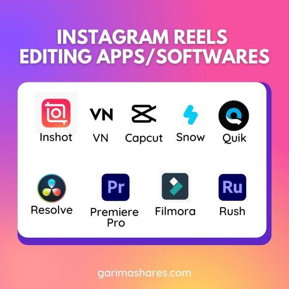 instagram reels editing apps, apps for editing reels, how to edit reels on instagram, da vinci resolve, inshot for reels, vn app, capcut app, filmora go, snow app