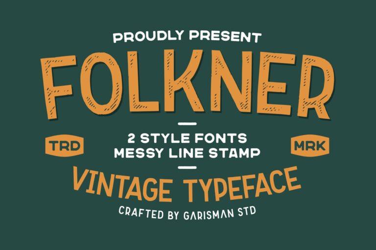 Preview image of Folkner – Vintage Typeface