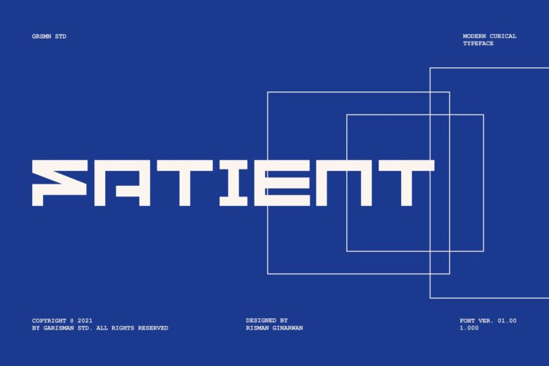 Preview image of GR Fatient – Modern Cubical Typeface