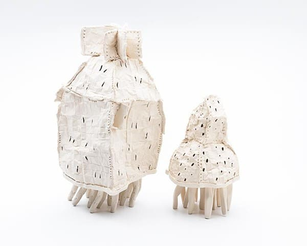 Sue Robey, Shelter, handbuilt ceramic paperclay fired to 1220 deg C max, 29H cm, 2015