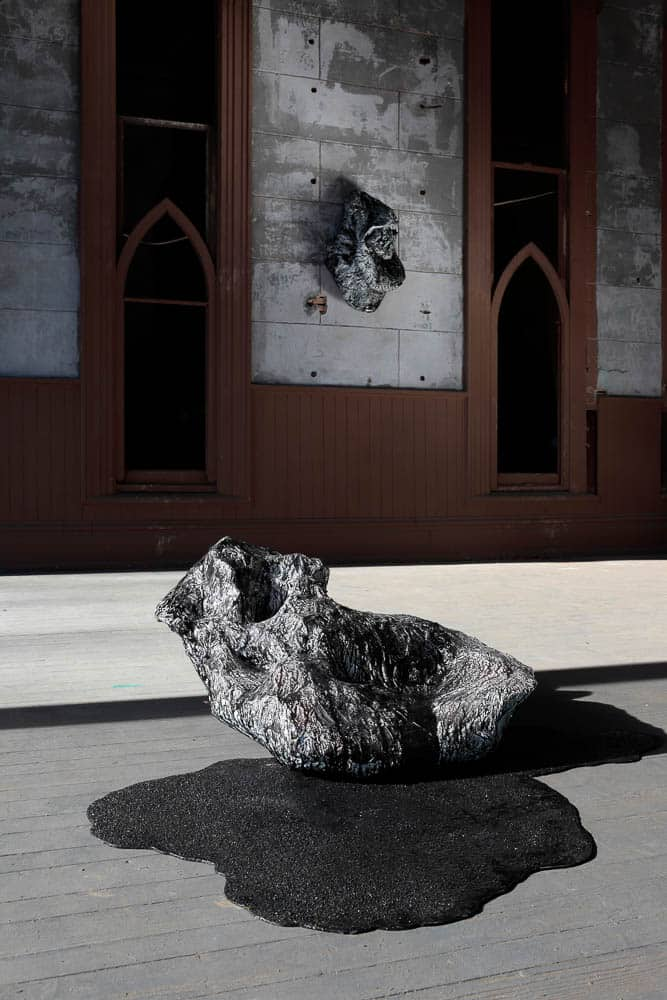 Carli Holcomb, Constellate (After), Ecoresin, India ink, paper, glue, spackle, plaster, coal slag, paint, steel, and water, 76.2 x 121.92 x 91.44cm, photo: David Hunter Hale, made in Virginia, USA
