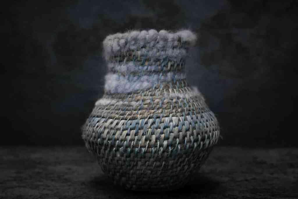 Siân Boucherd, Sky Vase [16x16cm] Jute, hemp, linen, raffia and wool