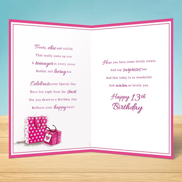 Birthday Card 13th Birthday Girl Garlanna Greeting Cards