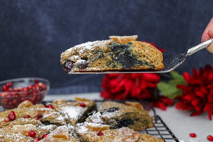 serving spatula with a berry scone