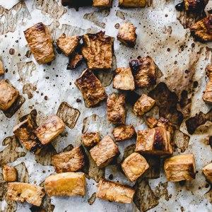 close up tray of tofu