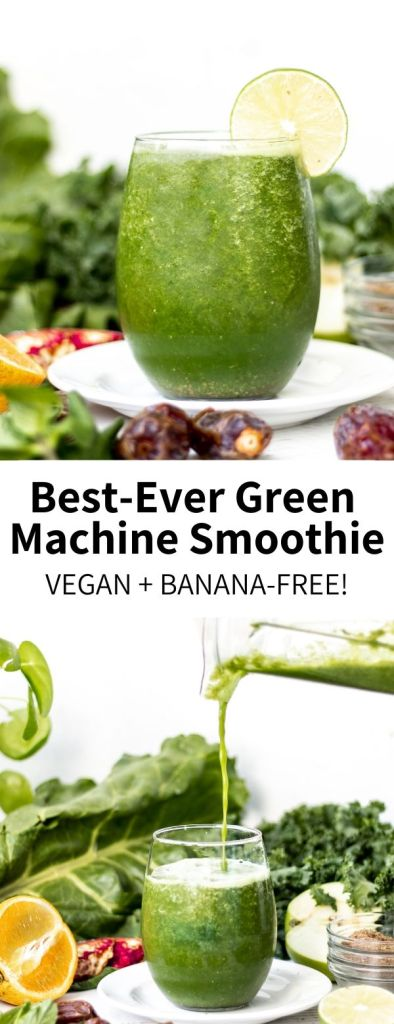 Loaded with vitamin-rich greens like kale, chard, and mint, this naturally-sweetened green machine smoothie is so refreshing and totally vegan! A healthy drink ready in 5 minutes, you'll want to sip this every morning. #kale #smoothie #greenmachine #greensmoothie #vegansmoothie #vegan #bananafree #healthy #healthyrecipes #veganrecipes #plantbased