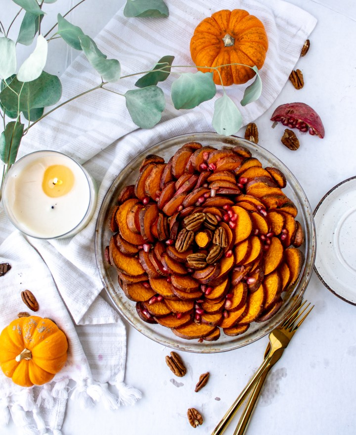 thanksgiving tablescape with sweet potatoes