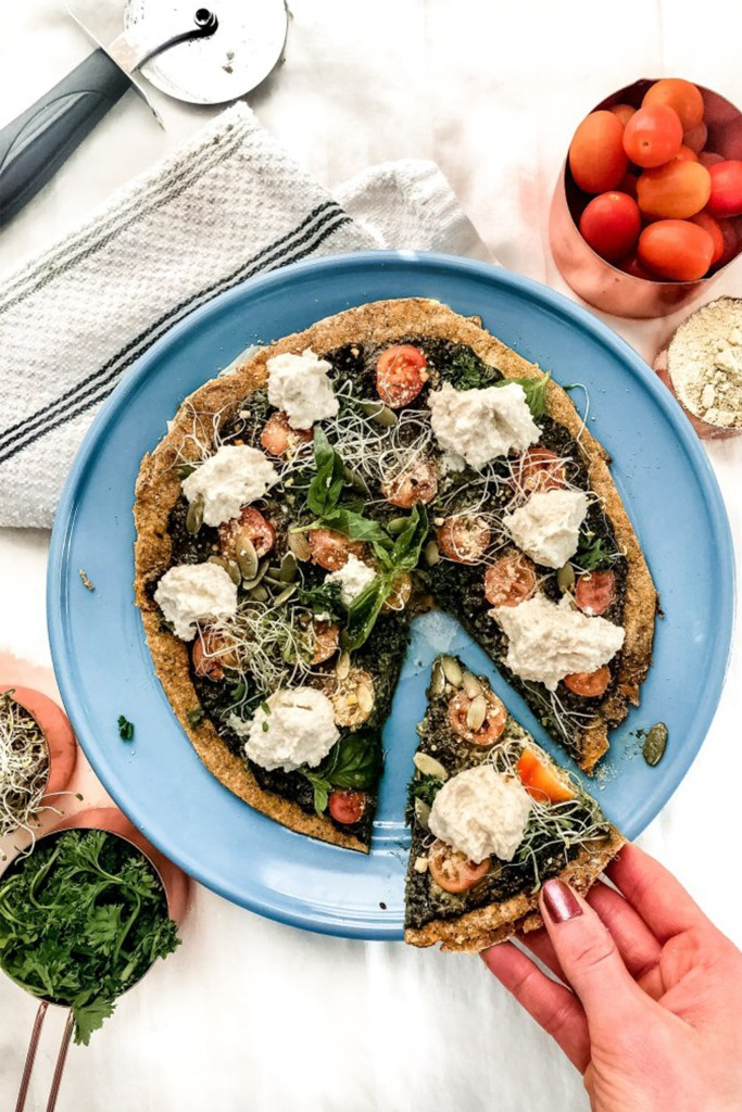 plate with sweet potato crust pizza