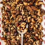 rosemary mixed nuts on a tray