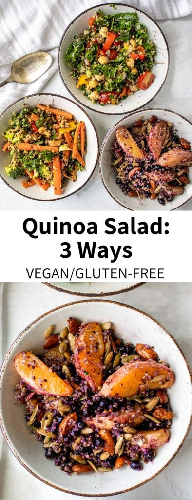 Mix and match your meal prep/lunch routine with these three easy quinoa salad recipes! With a Mediterranean Quinoa Salad with Lemon Dressing, an Asian-inspired Quinoa Salad with Peanut Sauce, and a Nutty Quinoa Fruit Salad, there is something for everyone. Most recipes ready in 15 minutes, all vegan and gluten-free! #vegan #quinoa #salad #quinoasalad #healthy #recipe #glutenfree #easy #mealprep #lunch #protein #plantprotein #peanutsauce #fruitsalad