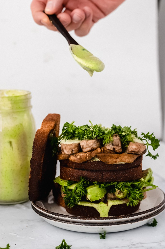 tempeh BLT with green tahini sauec