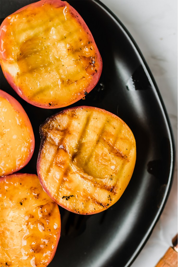 close up overhead view of grilled nectarines