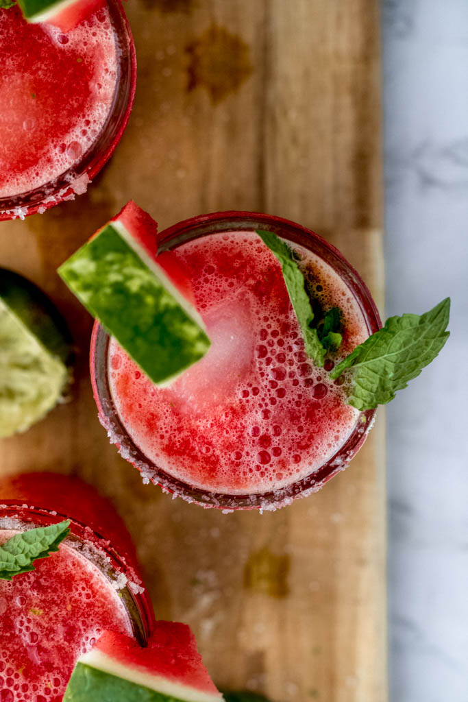 overhead shot of salted watermelon margaritas