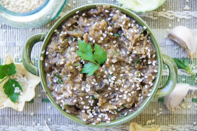 Aubergine, Mushroom & Garlic Dip