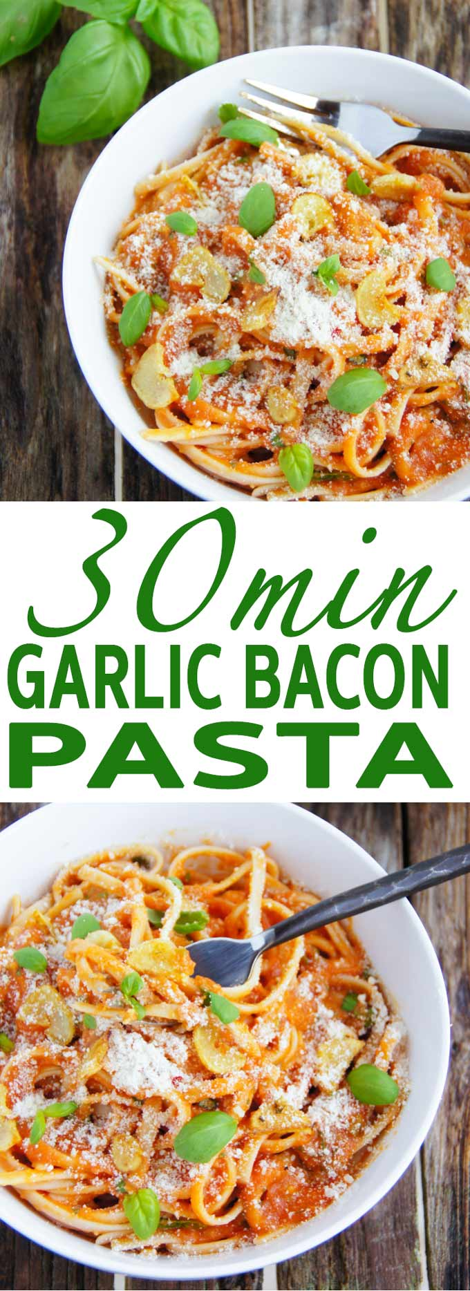 Authentic 30min Bacon Garlic Pasta recipe is a traditional, easy, every-day Italian comfort food made with simple, best quality ingredients.
