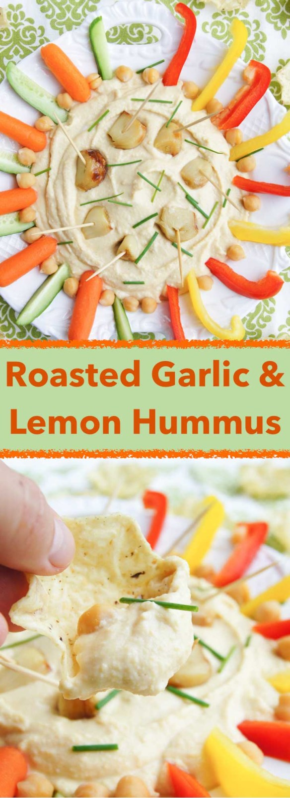 Roasted Garlic and Lemon Hummus - real treat for garlic lovers; roasted garlic, lemon, nutty notes balanced perfectly in easy, 6min recipe.