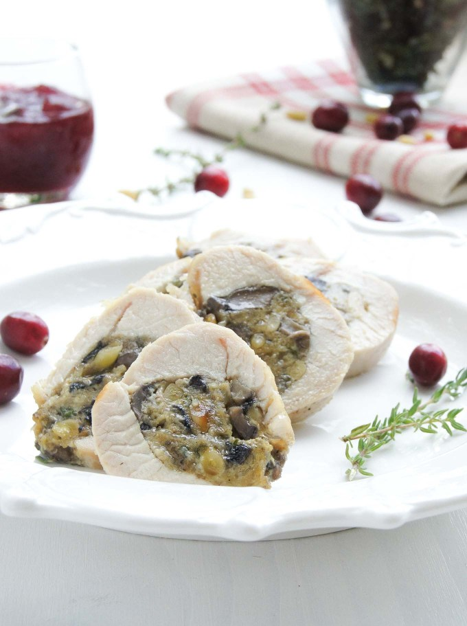Thanksgiving Mushroom and Pine Nuts Stuffed Turkey Tenderloin is a wonderfully flavorful celebration dish - easy to prepare in 15min recipe.