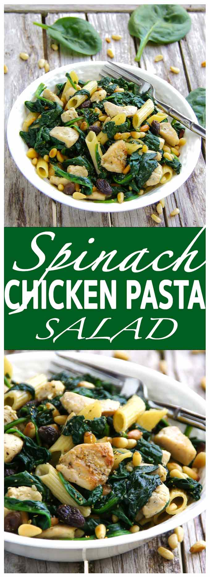 Full of goodness and flavour, 20 min Spinach Chicken Pasta Salad is perfect for lunch on a cold day - easy and with a sweet and crunchy bite.