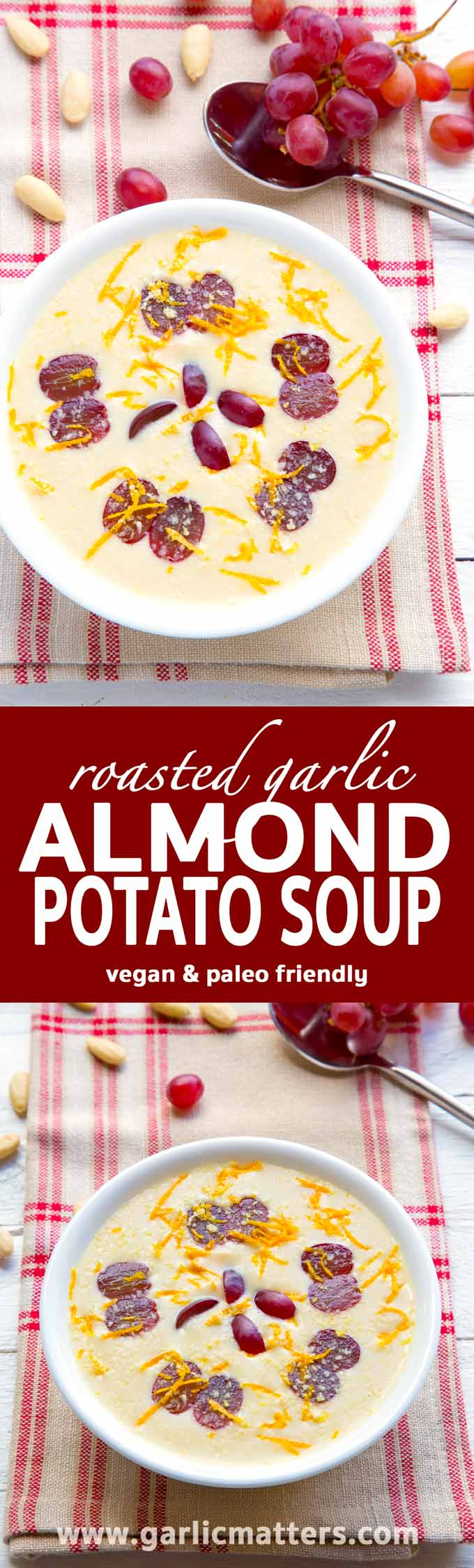 Roasted Garlic Almond Potato Soup - Surprise you friends with this amazing Spanish appetizer for lunch or dinner. Vegan and paleo friendly.