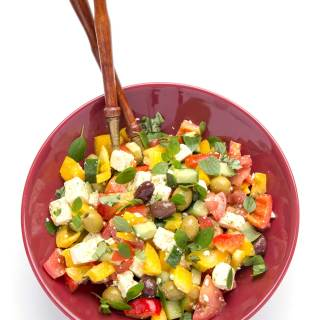 GREEK SALAD WITH ROASTED GARLIC DRESSING