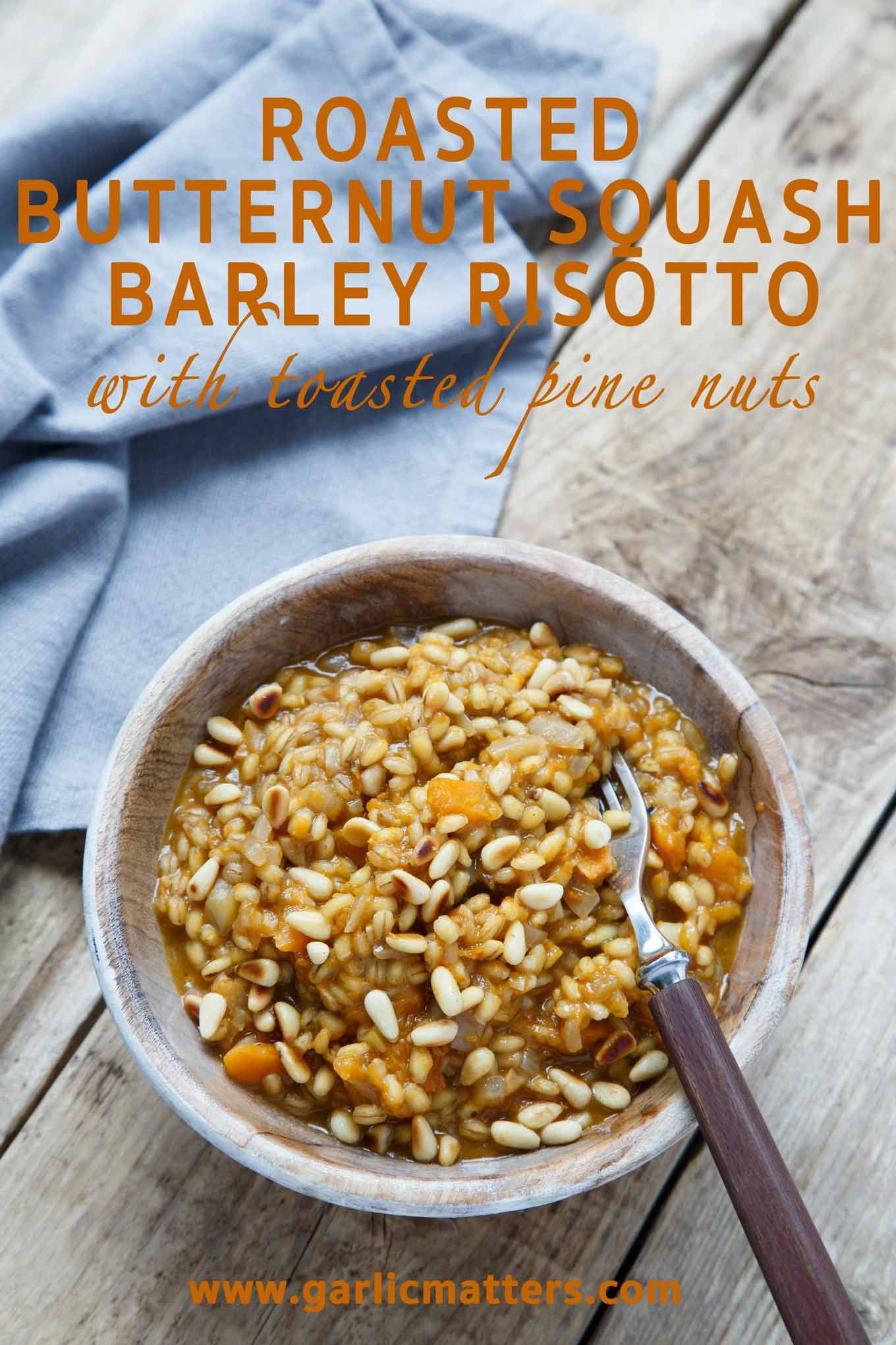 Roasted Butternut Squash Barley Risotto with Toasted Pine Nuts Recipe ...