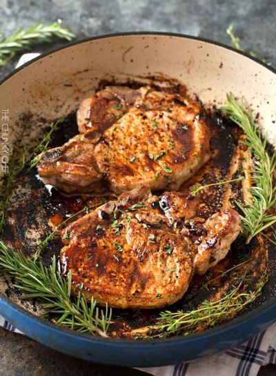 Maple Balsamic Glazed Pork Chops Recipe from The Chunky Chef