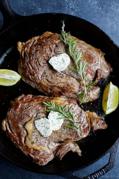 Pan Seared Ribeye with Herb Butter Recipe from Joyful Healthy Eats - Valentine's Day Dinner Recipes