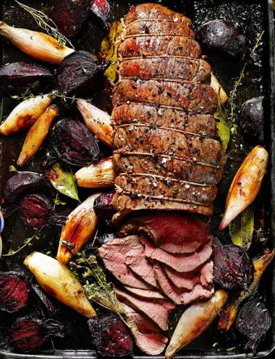 Roast Venison Haunch with Beetroot, Shallots and Horseradish - Valentine's Day Dinner Recipes