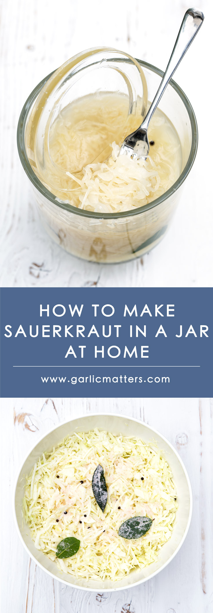 Learn How To Make Homemade Sauerkraut in a Jar and enjoy its amazing flavour as well as health benefits. All you need is cabbage and salt! Easy recipe and no special skills or equipment required. The fermented sauerkraut stores great for months