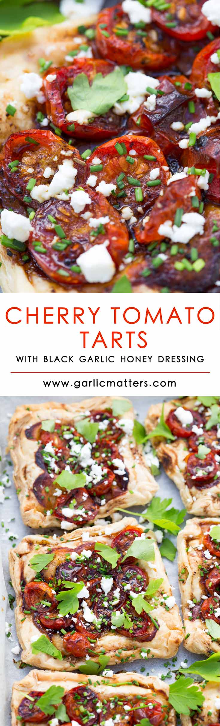 Easy Cherry Tomato Tarts with Black Garlic Honey Dressing simply melt in the mouth. Light, rich and packed with flavour. Perfect for light, vegetarian lunch or a snack. They simply melt in the mouth!