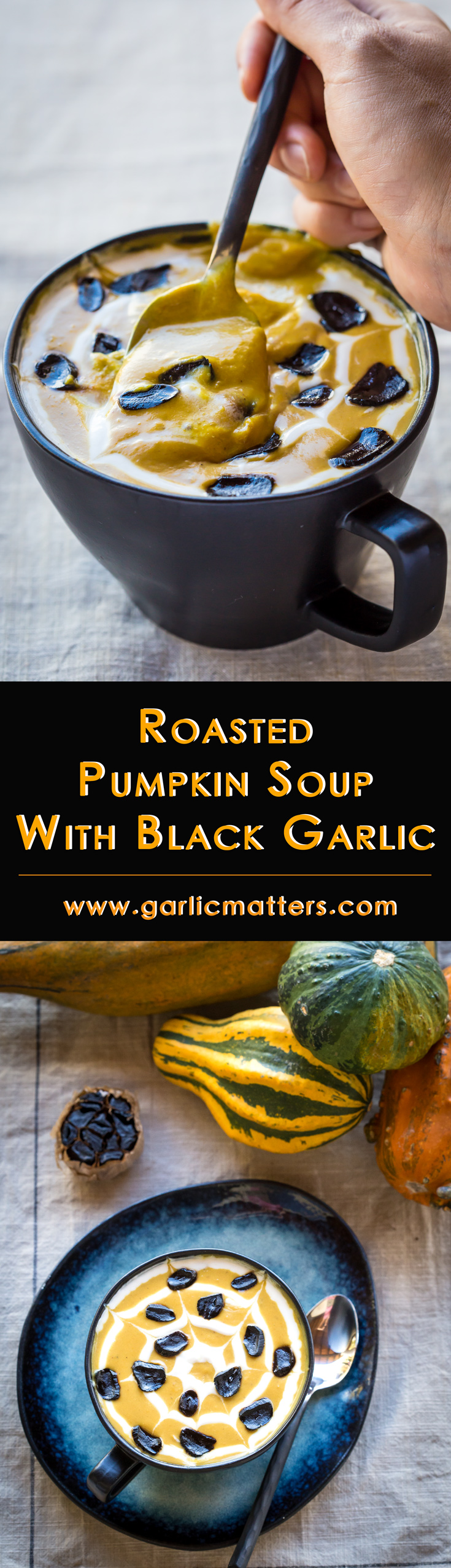 Easy spiced Roasted Pumpkin Soup with Black Garlic is without any reservations the best fall / Halloween style recipe I've ever had! With the addition of immune system boosting black garlic this delicious soup tastes like the truffle of all pumpkin soups! High content of health promoting antioxidants, anti cold & flu properties is an added bonus! Gluten free, vegan & paleo friendly.
