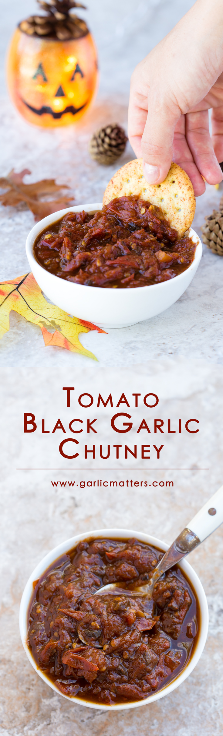 Tomato and Black Garlic Chutney is a delicious, vegan, sweet & sour, umami notes underlined condiment. It is an easy, versatile, one pan, 1 hour recipe made with only two ingredients and packed with an amazing flavour. It works great in sandwiches, smeared over a piece of meat or as a dip.