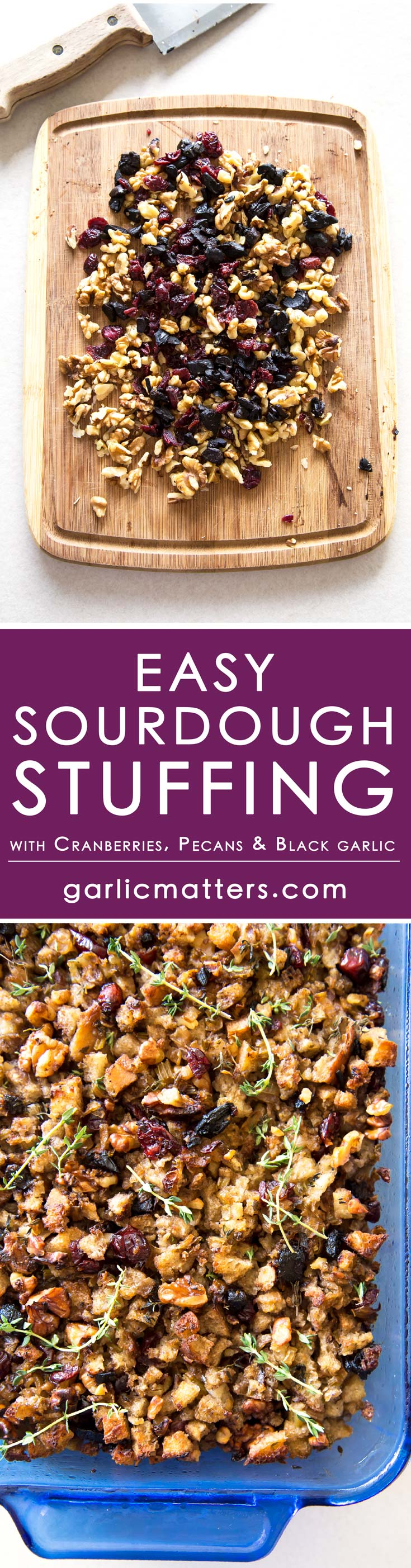 This easy, homemade sourdough stuffing recipe includes sourdough, black garlic, nuts and cranberries. This is hands down the best stuffing I've ever had - I like to serve it as a stand-alone side dish. Combination of sweet, savoury and earthy ingredients make it an excellent stuffing for turkey or any other meat. It has rich flavour and lovely texture, and also thanks to the antioxidant rich black garlic addition, fantastic health benefits!