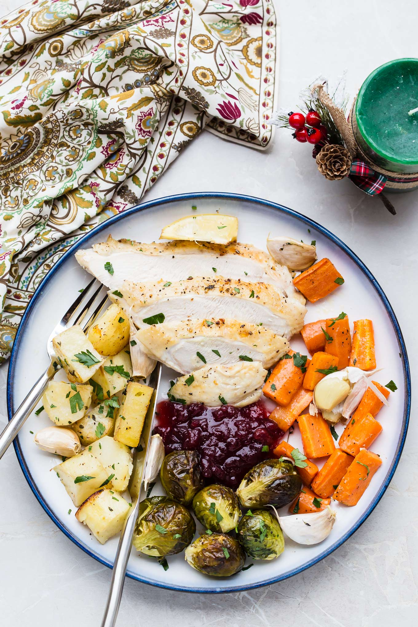 One Pan Turkey Roast Dinner for two - easy, traditional Christmas meal recipe ready in 1 hour.