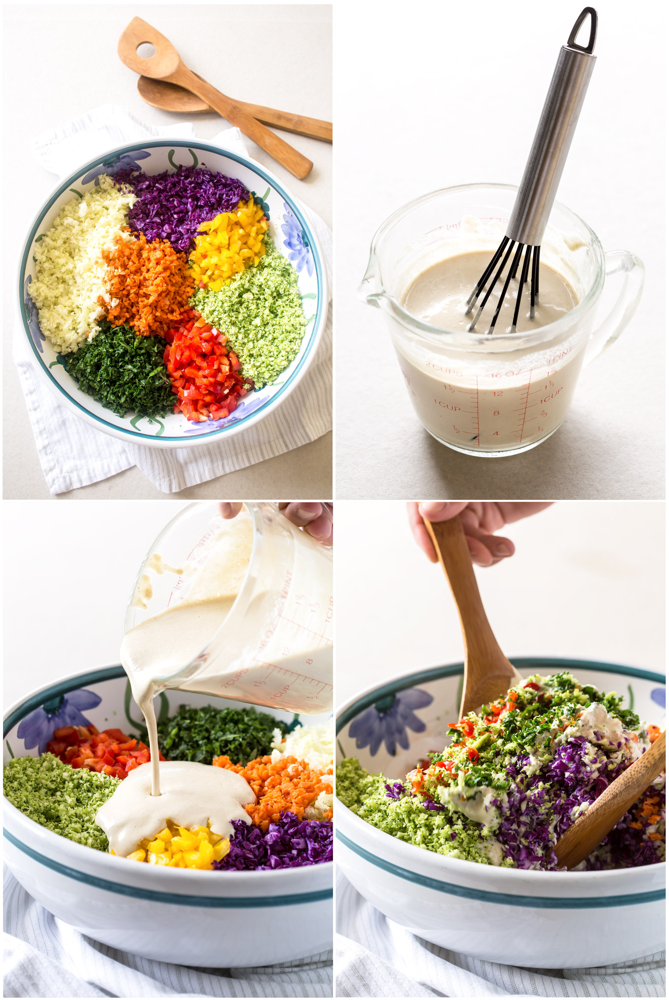 Rainbow Coleslaw Salad With Cashew Mayo preparation in 4 step - collage