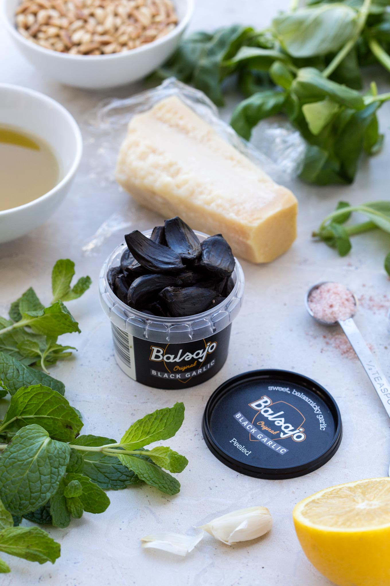 Mint, Basil, Pine Nuts, Olive Oil, Black Garlic in a Tub, Salt & Pepper, Pecorino Romano,