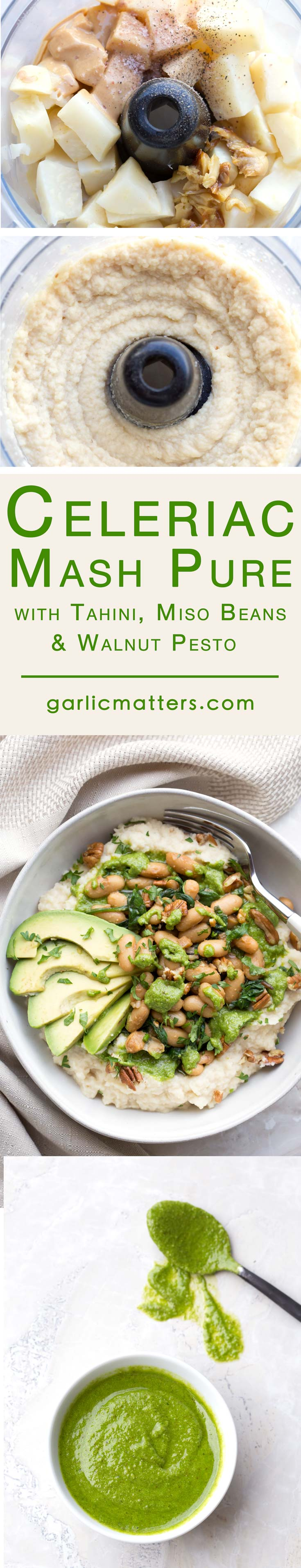 Celeriac Mash With Tahini, Miso Beans and Walnut Pesto Recipe Pinterest Image Compilation