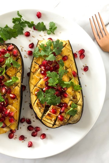 baked miso aubergines with pomegranate seeds