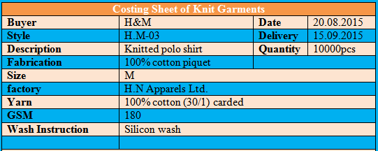 Costing Sheet for Knit Garments
