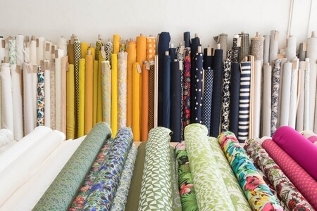 Fabric store department in garment industry