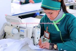 Sewing machine operator works in apparel industry