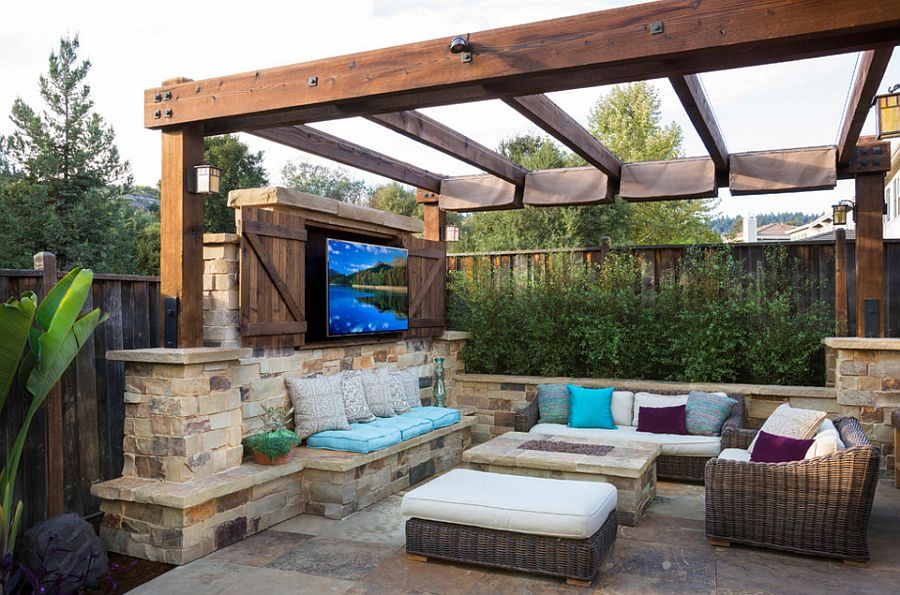an outdoor tv in your patio