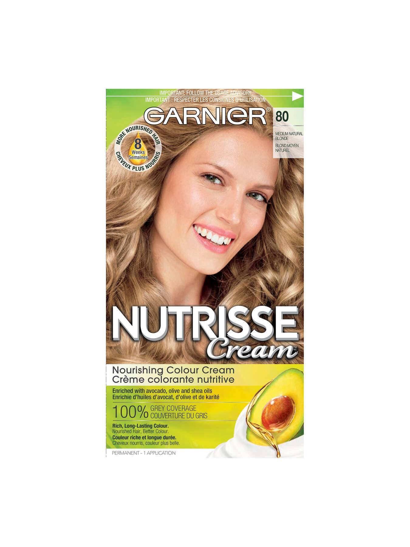 Garnier Blonde Hair Color Chart : garnier, blonde, color, chart, Medium, Natural, Blonde, Garnier, Nutrisse, Cream