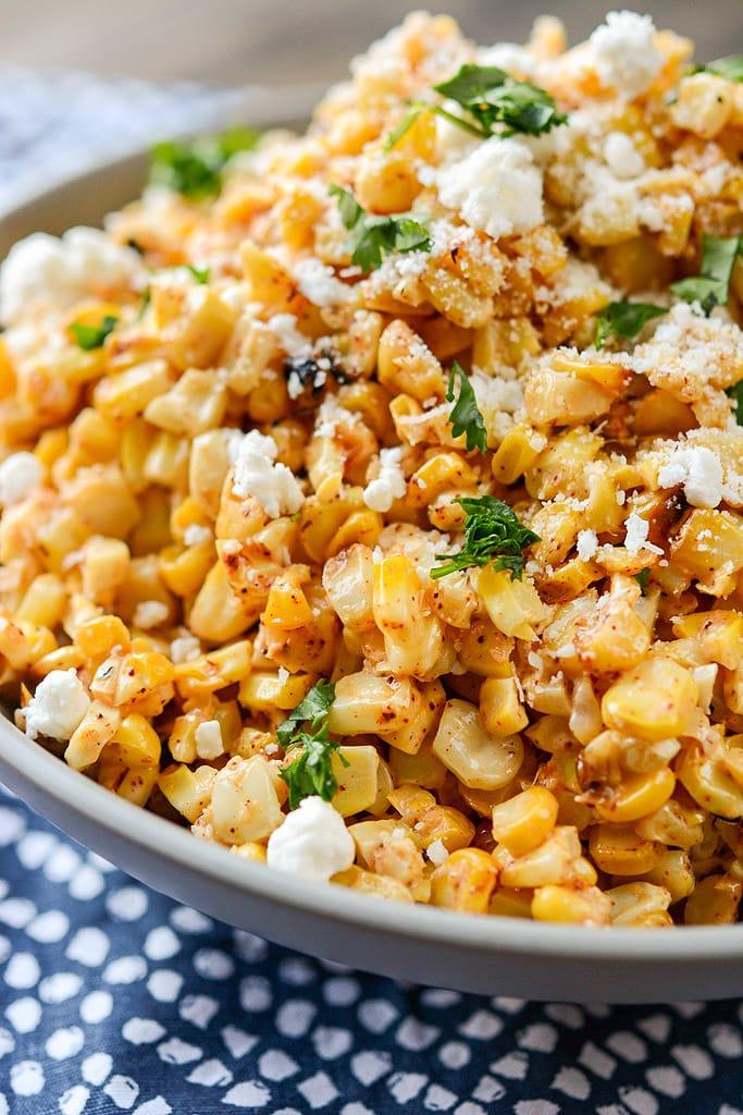 Mexican Street Corn Salad on a blue napkin