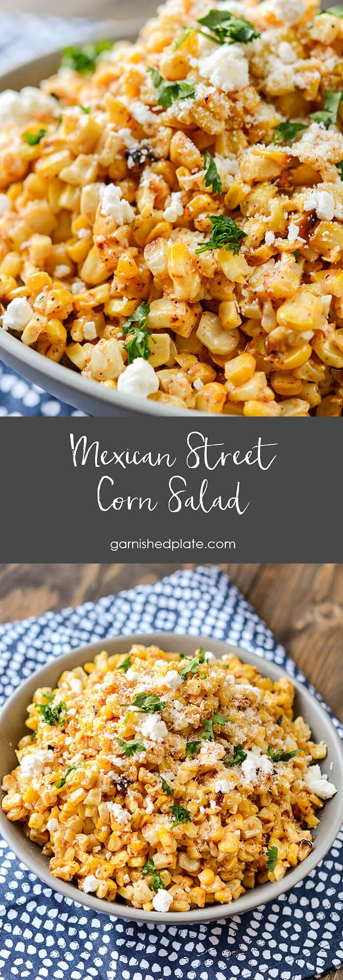 A delicious way to use up that end of summer corn, this Mexican Street Corn salad is perfect on it's own or amazing as a topping on your favorite tacos.