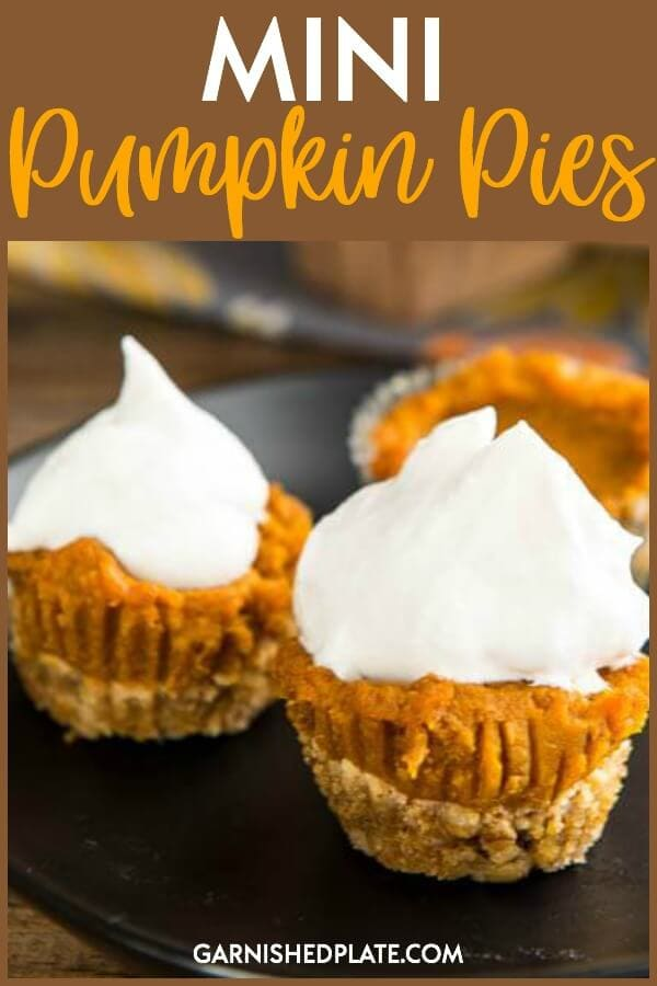 When you just want a bite of dessert, these Mini Pumpkin Pies will do the trick! Vegan and low-carb they make an easy and tasty dessert. #garnishedplate #mini #pumpkinpies #vegan #lowcarb