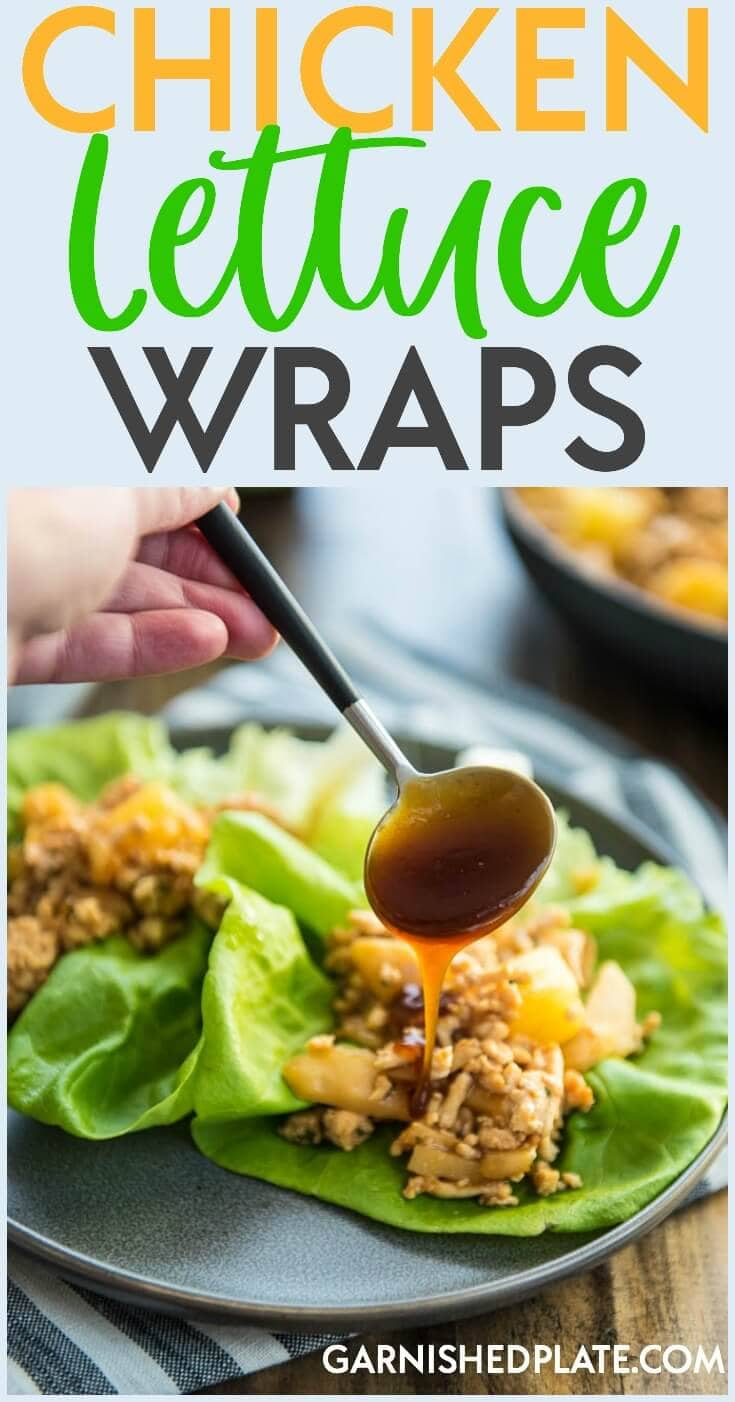 For a quick and satisfying dinner that won't leave you feeling stuffed, try these simple Chicken Lettuce Wraps with pineapple and a delicious tangy sauce!