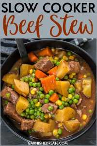 For a simple, easy to prepare dinner that is hearty and delicious you can't beat Slow Cooker Beef Stew!  Easy and fast prep in the morning with your slow cooker will provide a delicious and classic meal ready by dinnertime.  #garnishedplate #slowcooker #beefstew
